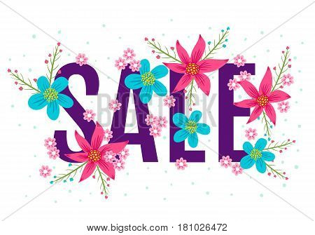 Vector season banner for spring or summer sale. Banner with flowers for sale.