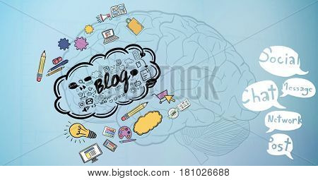 Digital composite of 3d image of brain with various icons and speech bubbles