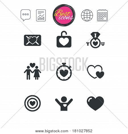 Chat speech bubble, report and calendar signs. Love, valentine day icons. Target with heart, oath letter and locker symbols. Couple lovers, boyfriend signs. Classic simple flat web icons. Vector