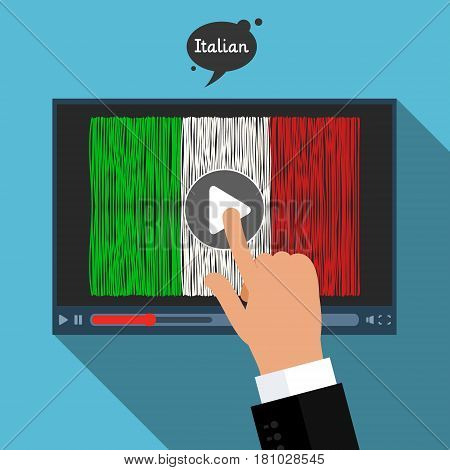 Concept of learning languages. Study Italian. Screen with hand drawn Italian flag. Film in Italian.