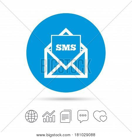 Mail icon. Envelope symbol. Message sms sign. Mail navigation button. Copy files, chat speech bubble and chart web icons. Vector