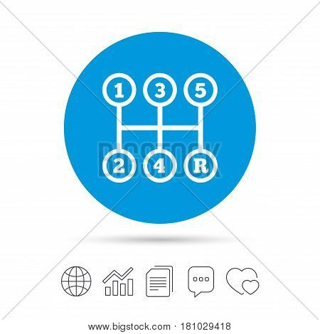 Manual transmission sign icon. Automobile mechanic control symbol. Copy files, chat speech bubble and chart web icons. Vector