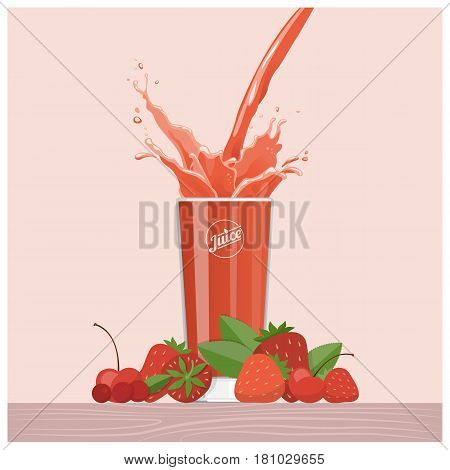 Red berries juice pouring into a glass with strawberries cherries and cranberries healthy diet concept