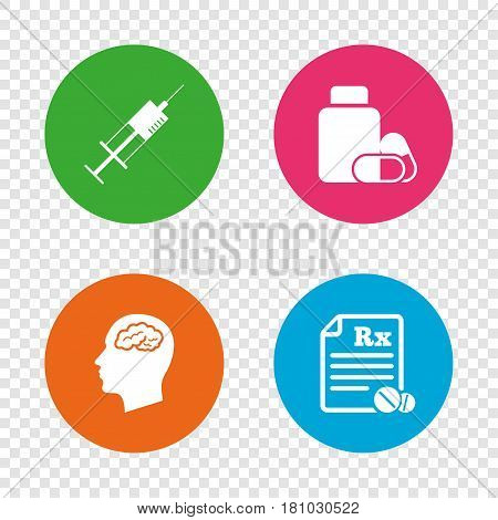 Medicine icons. Medical tablets bottle, head with brain, prescription Rx and syringe signs. Pharmacy or medicine symbol. Round buttons on transparent background. Vector