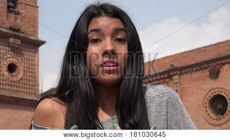 Confusion Or Shocked Girl  with Colombian Ethnicity