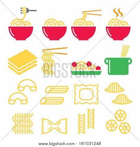 Pasta, noodles, spaghetti - Italian food icons set