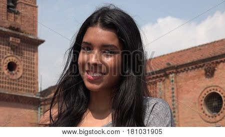 Pretty Smiling Teen Girl with Colombian Ethnicity