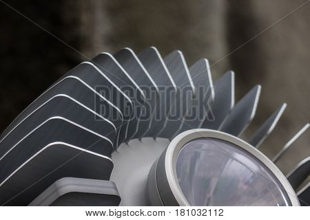 The Lamp And Metal Radiator Of A Searchlight
