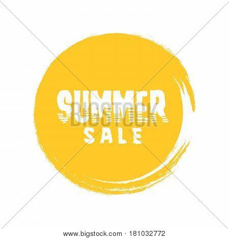 Summer Sale Letter In Round Grunge Orange Circle Vector Illustration
