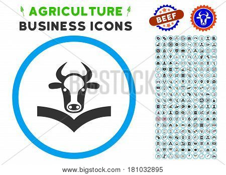 Cow Handbook rounded icon with agriculture business icon clipart. Vector illustration style is a flat iconic symbol inside a circle, blue and gray colors. Designed for web and software interfaces.