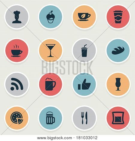 Vector Illustration Set Of Simple Food Icons. Elements Tea, Pepperoni, Bread And Other Synonyms Utensil, Like And Takeaway.