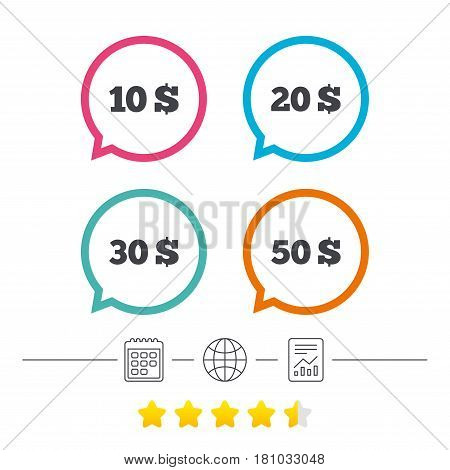 Money in Dollars icons. 10, 20, 30 and 50 USD symbols. Money signs Calendar, internet globe and report linear icons. Star vote ranking. Vector