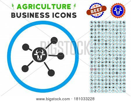 Cow Links rounded icon with agriculture commercial glyph kit. Vector illustration style is a flat iconic symbol inside a circle, blue and gray colors. Designed for web and software interfaces.