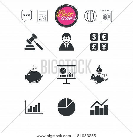 Chat speech bubble, report and calendar signs. Money, cash and finance icons. Handshake, piggy bank and currency exchange signs. Chart, auction and businessman symbols. Classic simple flat web icons