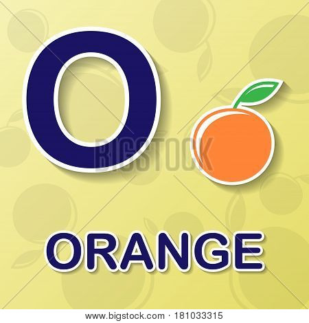 Orange symbol with letter O and word