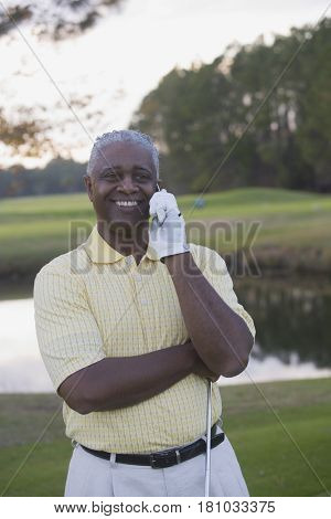 African man talking on cell phone