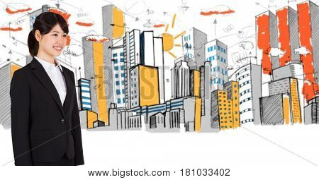 Digital composite of Digital composite image of businesswoman and buildings