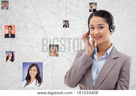 Digital composite of Confident HR wearing headphones while selecting candidates