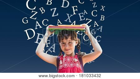 Digital composite of School girl carrying books on head with alphabets flying in background