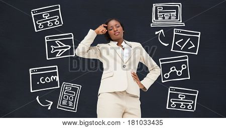 Digital composite of Digital composite image of thoughtful businesswoman with icons