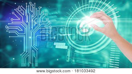 Digital composite of Close-up of hand over futuristic background