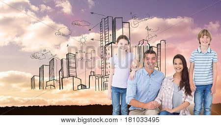 Digital composite of Digital composite image of happy family with buildings in sky