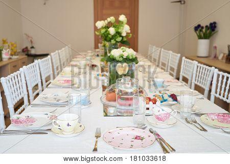 Elegant tables set up for a festive banquet