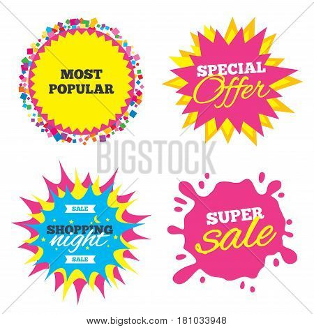 Sale splash banner, special offer star. Most popular sign icon. Bestseller symbol. Shopping night star label. Vector