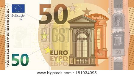 Illustration of a New 50 Euros Bill (Europe Series)
