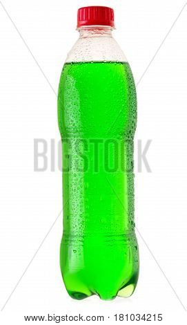 Bottle Of Green Soda Isolated On White Background