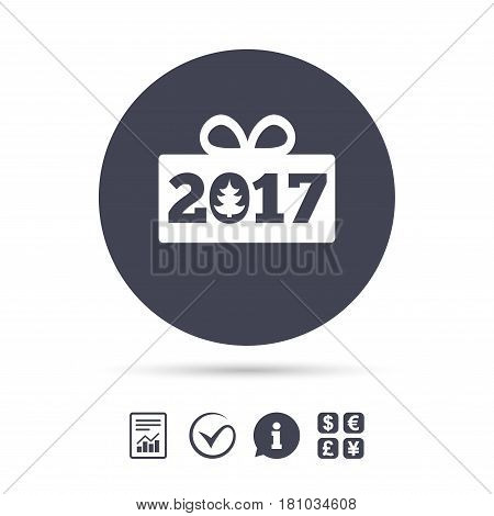 Happy new year 2017 sign icon. Christmas gift anf tree. Report document, information and check tick icons. Currency exchange. Vector