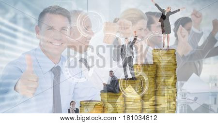 Digital composite of Digitally generated image of business people on coins with employees in background