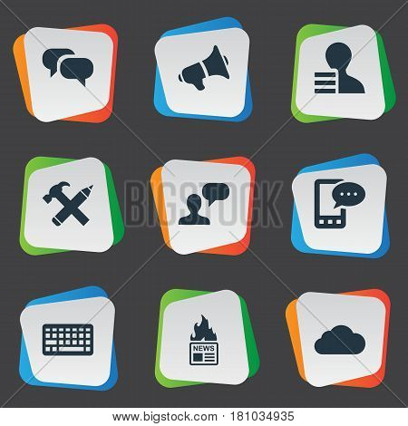 Vector Illustration Set Of Simple User Icons. Elements Gain, Overcast, Keypad And Other Synonyms Debate, Gossip And Keyboard.