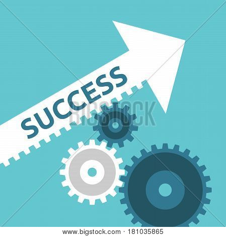 Cogs Moving Success Arrow