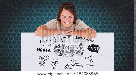Digital composite of Smiling man leaning on bill board with business and media icons