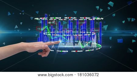 Digital composite of Hand touching graph on screen