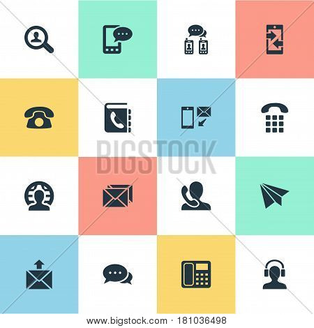 Vector Illustration Set Of Simple Connect Icons. Elements Telephone, Dialogue, Speaking Human And Other Synonyms Job, Phone And Career.