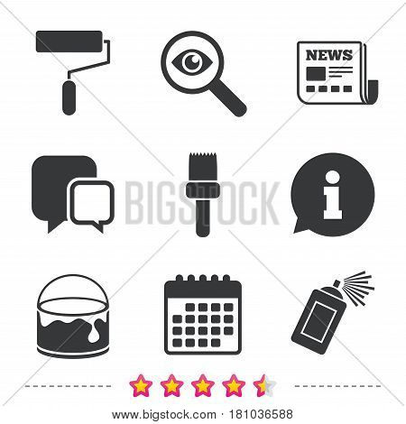 Painting roller, brush icons. Spray can and Bucket of paint signs. Wall repair tool and painting symbol. Newspaper, information and calendar icons. Investigate magnifier, chat symbol. Vector