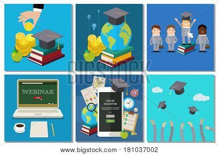 Concept of education business set. Flat design, vector illustration.