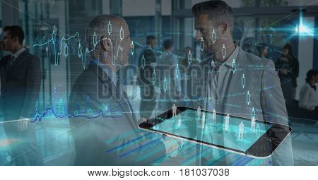 Digital composite of Multiple image of employees on smart phone with businessmen discussing in office