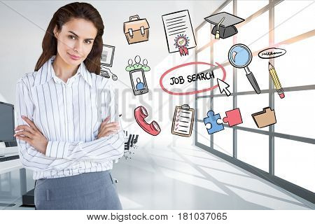 Digital composite of Businesswoman standing arms crossed by icons surrounding job search text