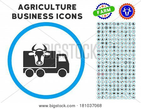 Cow Transportation rounded icon with agriculture commercial glyph package. Vector illustration style is a flat iconic symbol inside a circle, blue and gray colors.