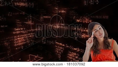 Digital composite of Female student against math background