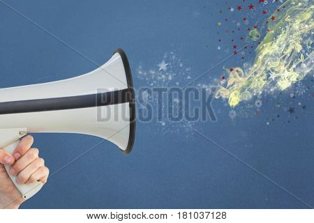 Digital composite of Digitally generated image of shapes emitting megaphone hold by person