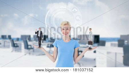 Digital composite of Businesswoman carrying candidates on palm