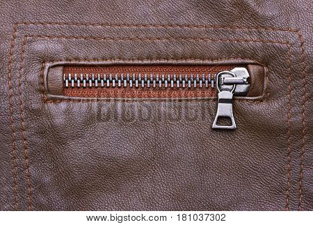 Brown Leather Jacket with zipper closeup