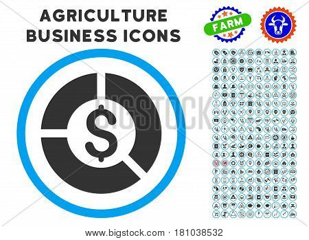 Currency Diagram rounded icon with agriculture commercial glyph package. Vector illustration style is a flat iconic symbol inside a circle, blue and gray colors.
