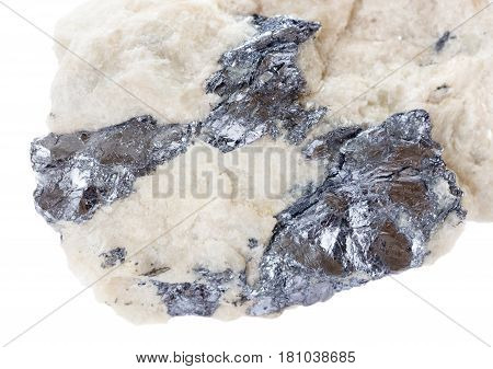 Molybdenite inclusions in quartz isolated on white background; Molybdenite is ore of mineral resources Molybdenium; macro shooting collection specimen
