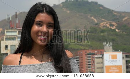 Happy Latina Teen Girl Long Black Hair