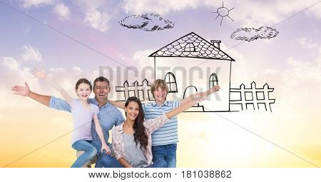 Digital composite of Portrait of happy family with dream house